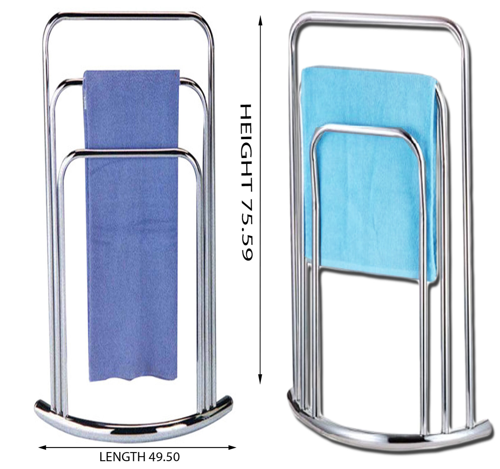 3 TIER TOWEL Holder Free Standing Chrome Bathroom 3 Rail Rack Stand ...