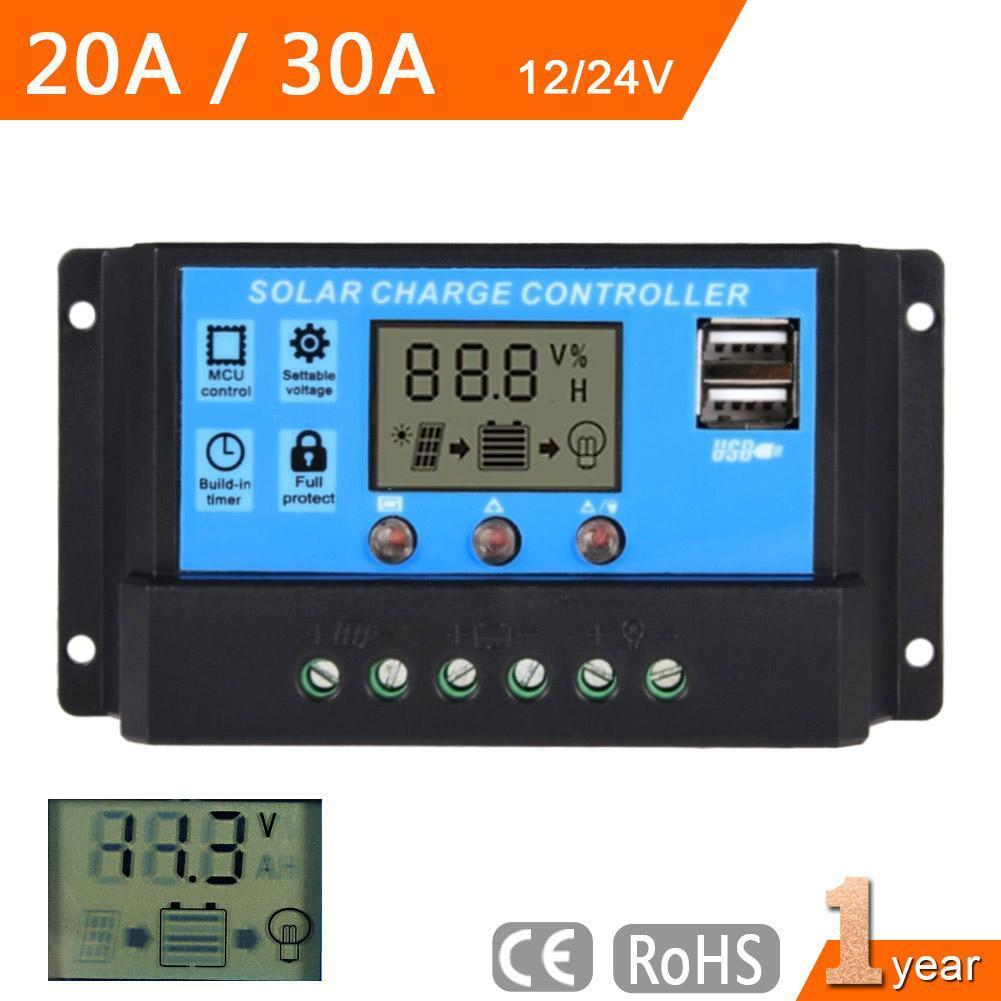 Lcd 20a 30a 12v 24v Pwm Solar Panel Battery Regulator Charge Controller Ad 101 Dc Voltage Circuit Smart