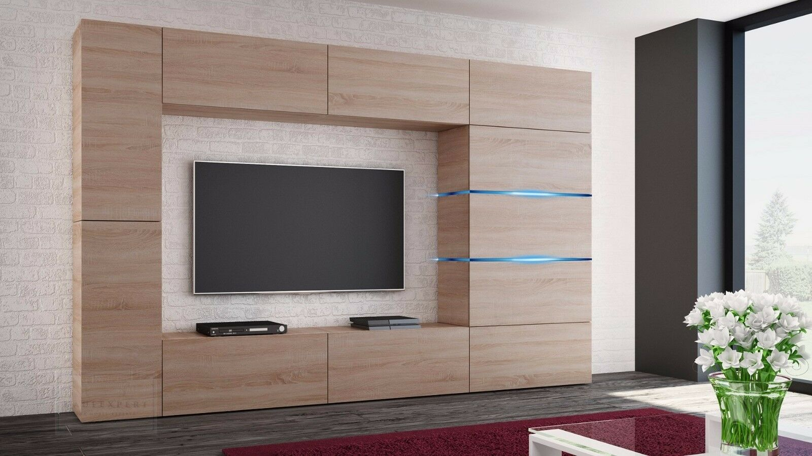 wohnwand shadow sonoma eiche matt anbauwand mediawand schrankwand mirage galaxy eur 679 00. Black Bedroom Furniture Sets. Home Design Ideas