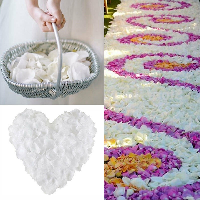 1000 Pcs Silk Flowers Rose Petals Wedding Party Decoration White