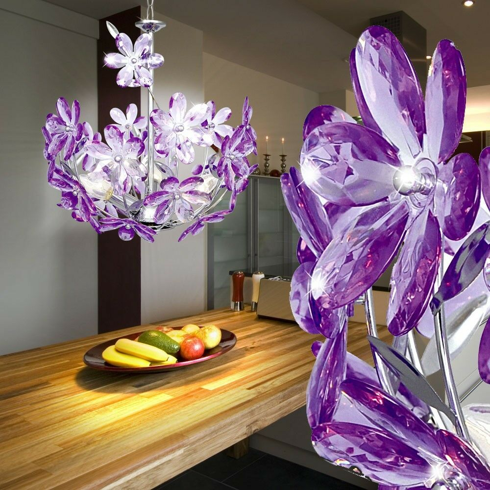 Plafonnier suspendu lampe mauve lumi re fleurs cuisine chambre salon design - Lumiere salon decoration ...