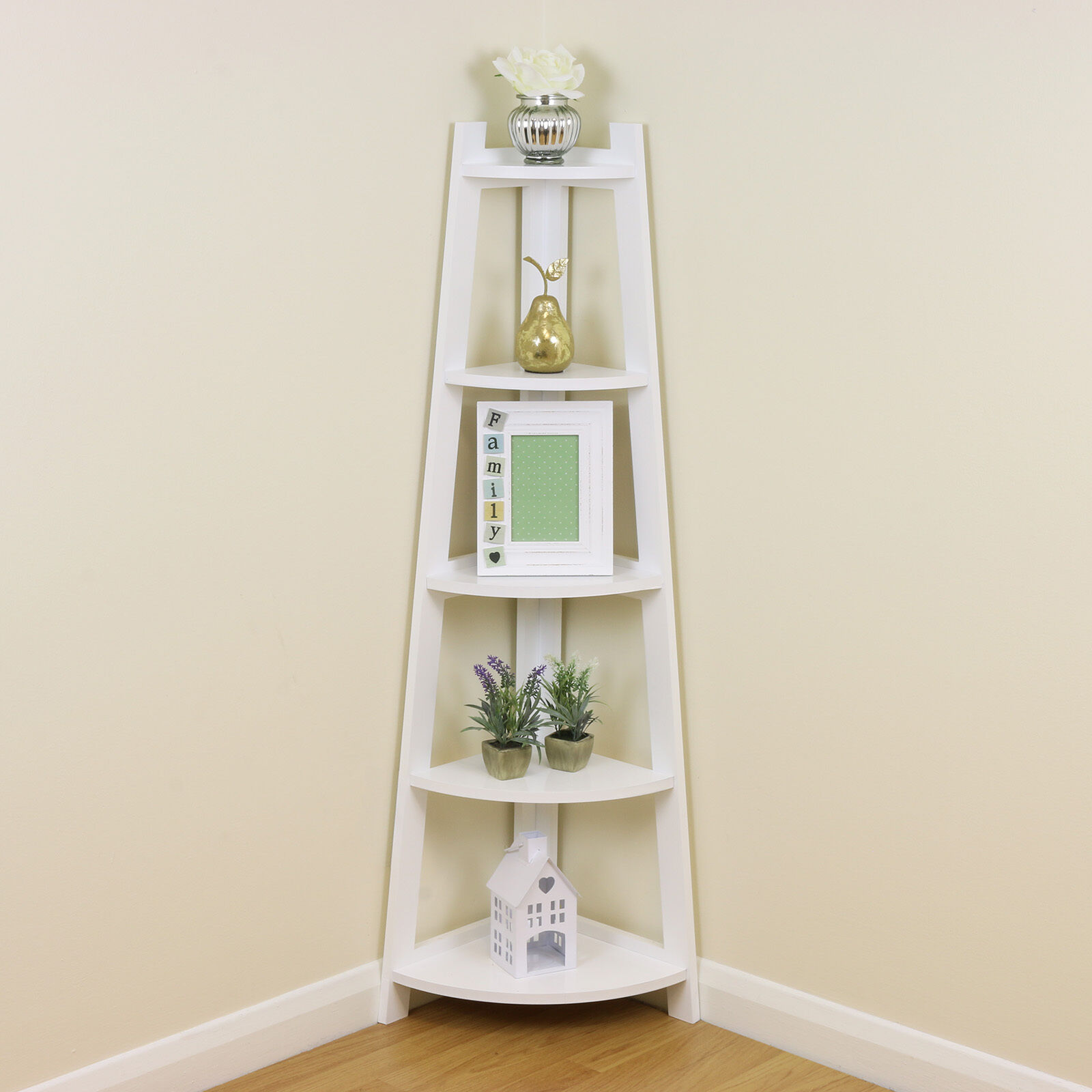 WHITE 5 TIER Tall Corner Shelf/Shelving Unit Display Stand Home ...