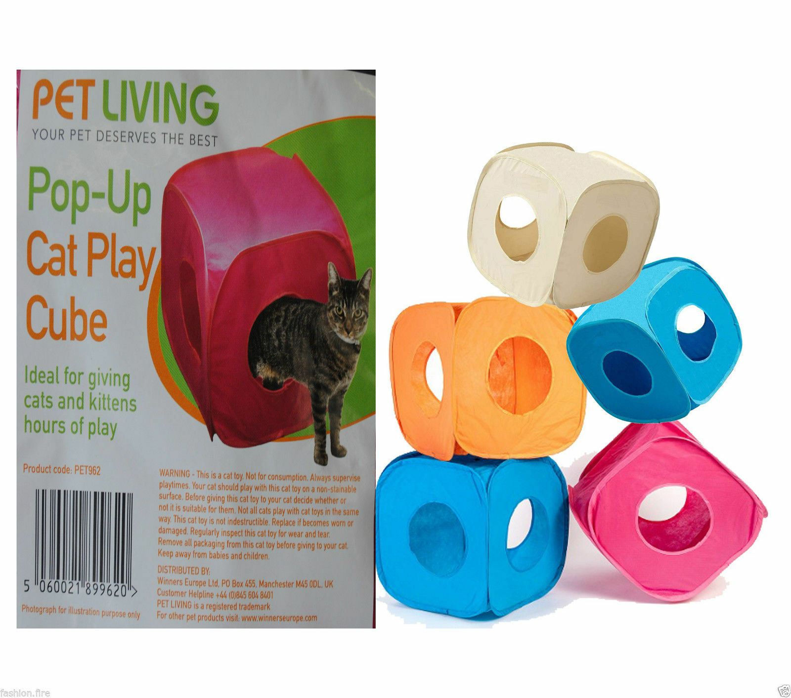 Branded Pet Living Pop Up Cat Kitten Play Cube Fun Strong Box For Cat Rabbit Toy