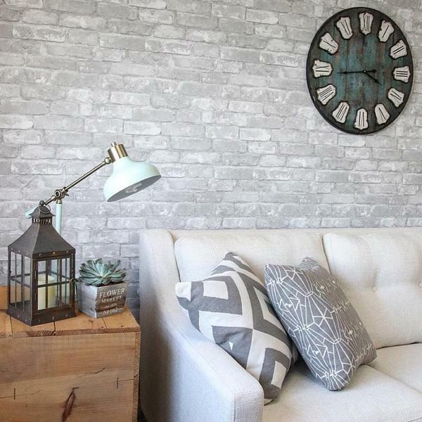 Rustic contemporary peel and stick gray white 3d realistic for 3d peel and stick wallpaper