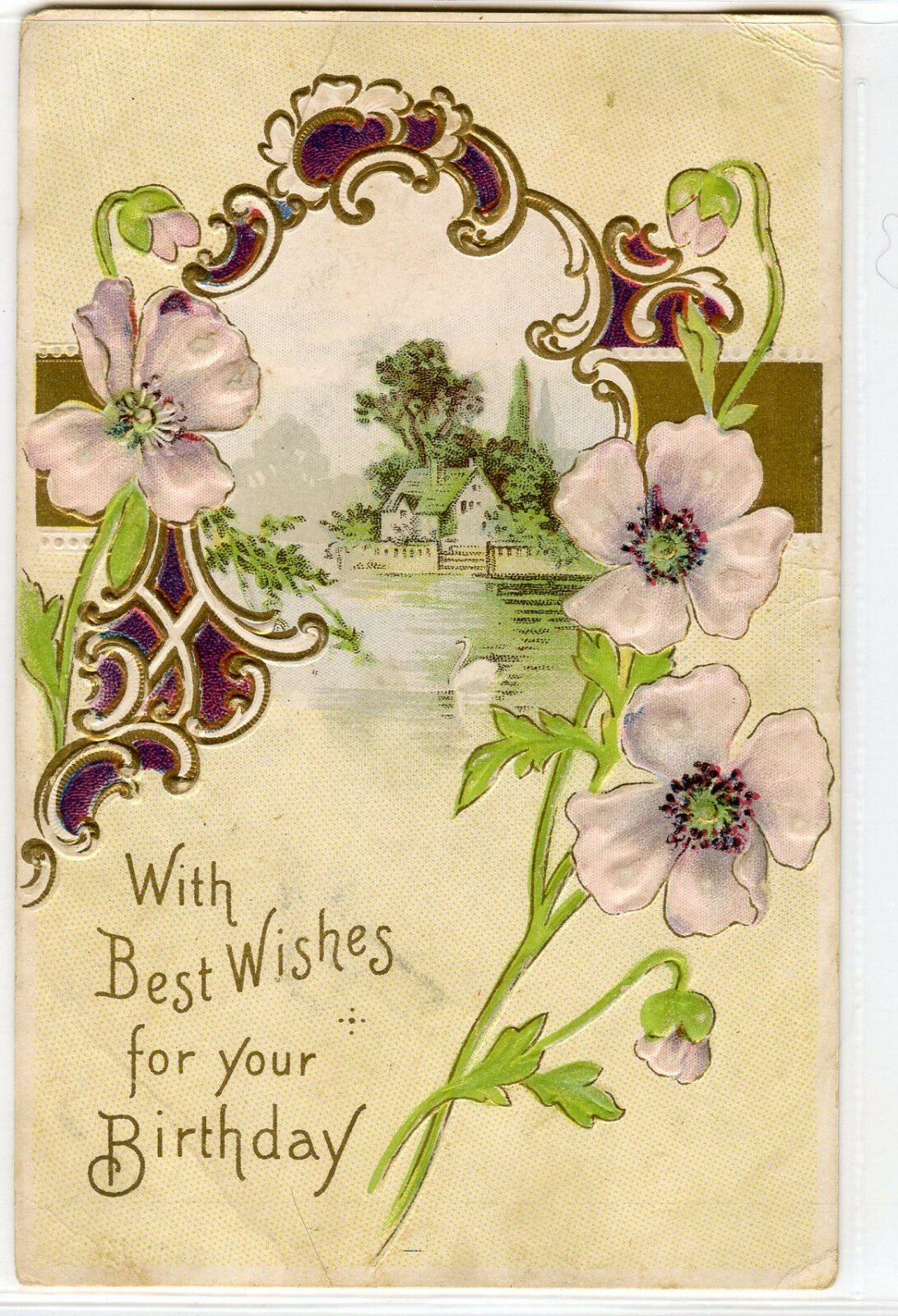 Vintage antique birthday postcard 1910 embossed gold purple green vintage antique birthday postcard 1910 embossed gold purple green flowers 1 of 2only 1 available izmirmasajfo