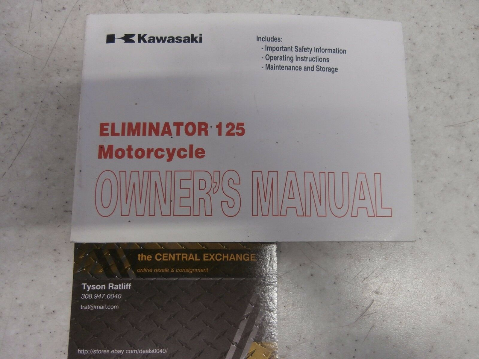Kawasaki Eliminator 125 BN125A Owners Manual Booklet Operator Genuine  99987-1369 1 of 2Only 1 available ...