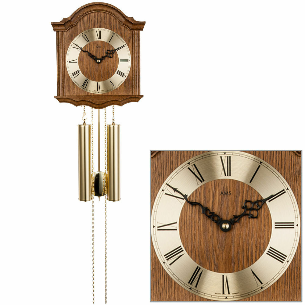 ams 206 4 wanduhr mit pendel mechanisch holz eiche heimuhr pendeluhr eur 378 00 picclick de. Black Bedroom Furniture Sets. Home Design Ideas