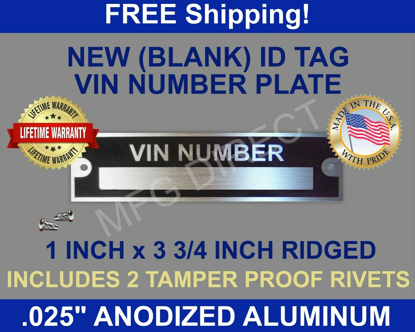 New Blank Vin Serial Number Plate Identification Vehicle Id Tag Free 1955 Ford F100 Location 1 Of 2only 3 Available