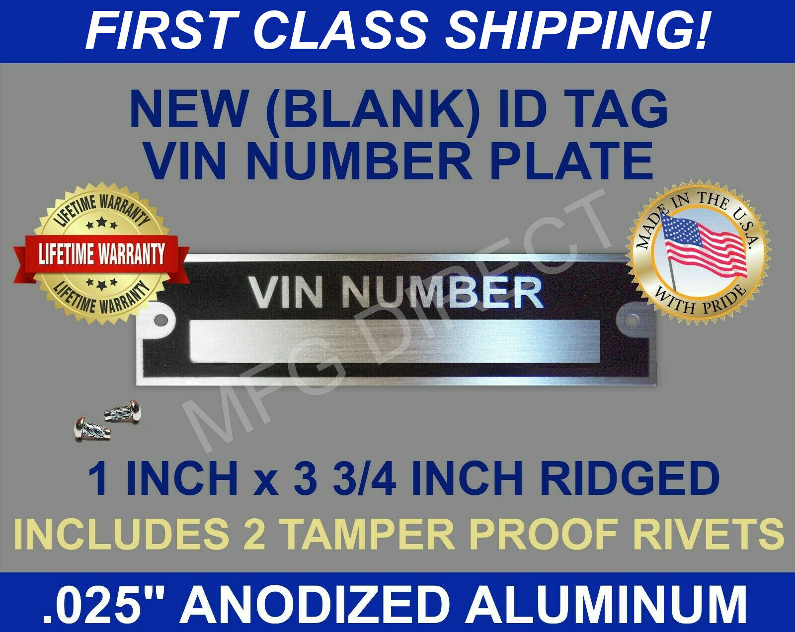 New Blank Vin Serial Number Plate Identification Vehicle Id Tag Free 1957 Chevrolet 1 Of 2only 3 Available