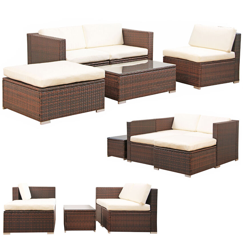 poly rattan garten lounge gartenset braun garnitur polyrattan gartenm bel neu picclick be. Black Bedroom Furniture Sets. Home Design Ideas