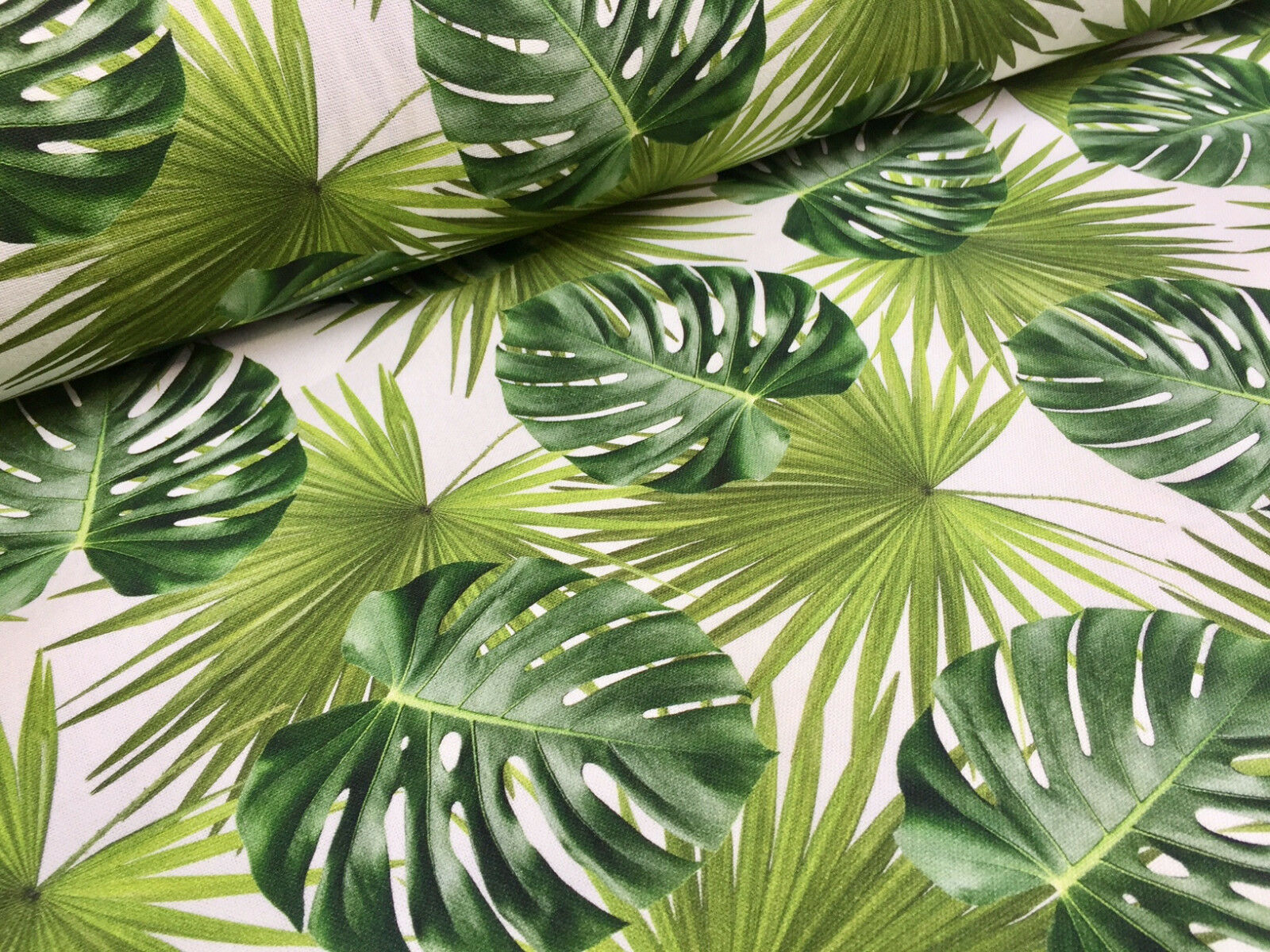 palm leaves cotton fabric for curtain upholstery green. Black Bedroom Furniture Sets. Home Design Ideas
