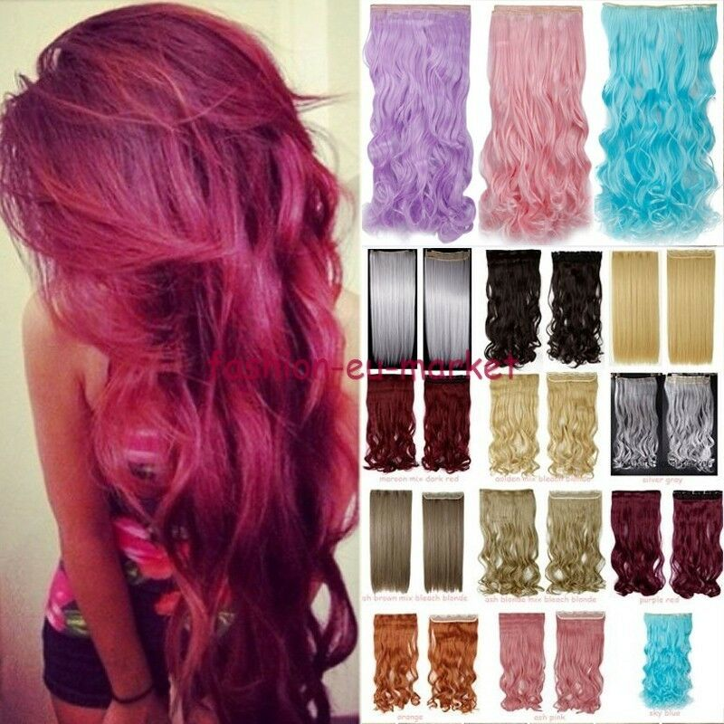 Real Thick New Clip In On Hair Extensions Long Wave Curly Ombre Pink