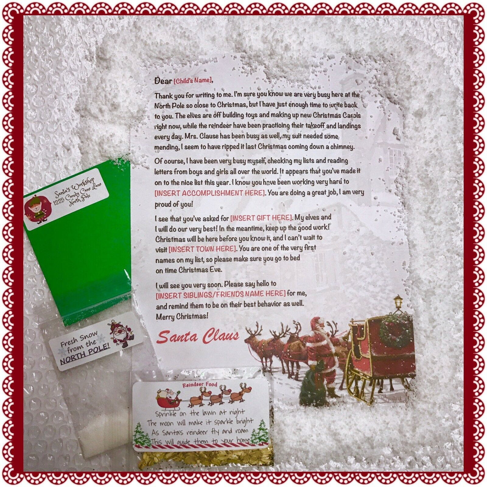Personalized letter from santa claus wax sealed instant for Personalized letter from santa with reindeer food