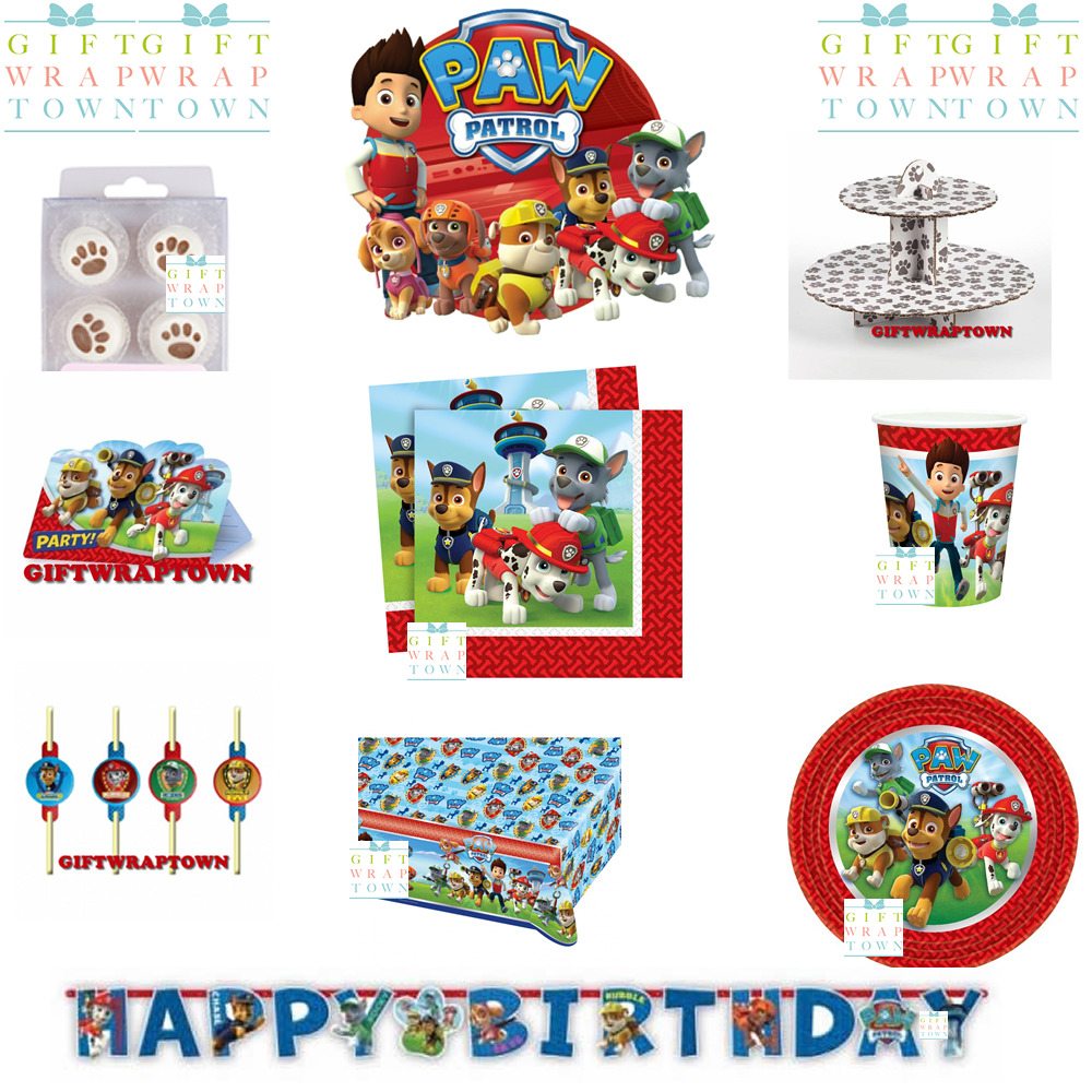 PAW PATROL PARTY Supplies! Cups Plates Tablecloth Napkins Invites ...