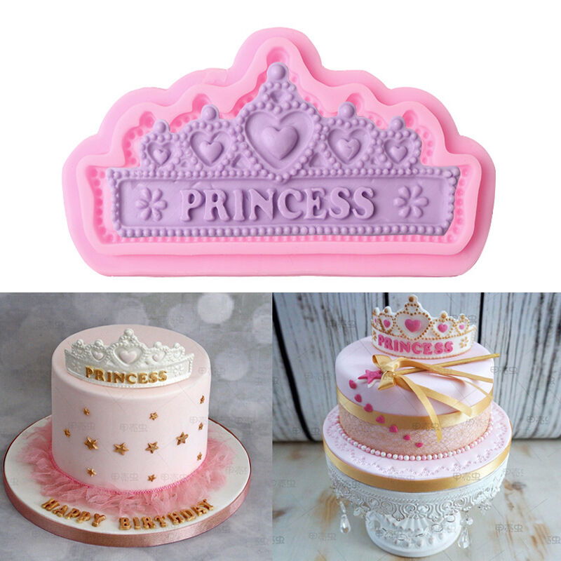 Cake Decoration Crown : 3D Lace Crown Silicone Fondant Mold Cake Decorating ...