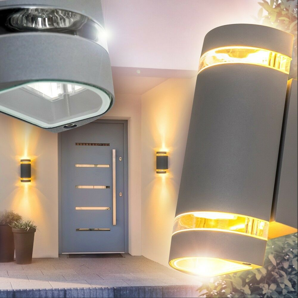 wandlampe garten up and down strahler aussen wand leuchten hof lampen silbergrau eur 39 99. Black Bedroom Furniture Sets. Home Design Ideas