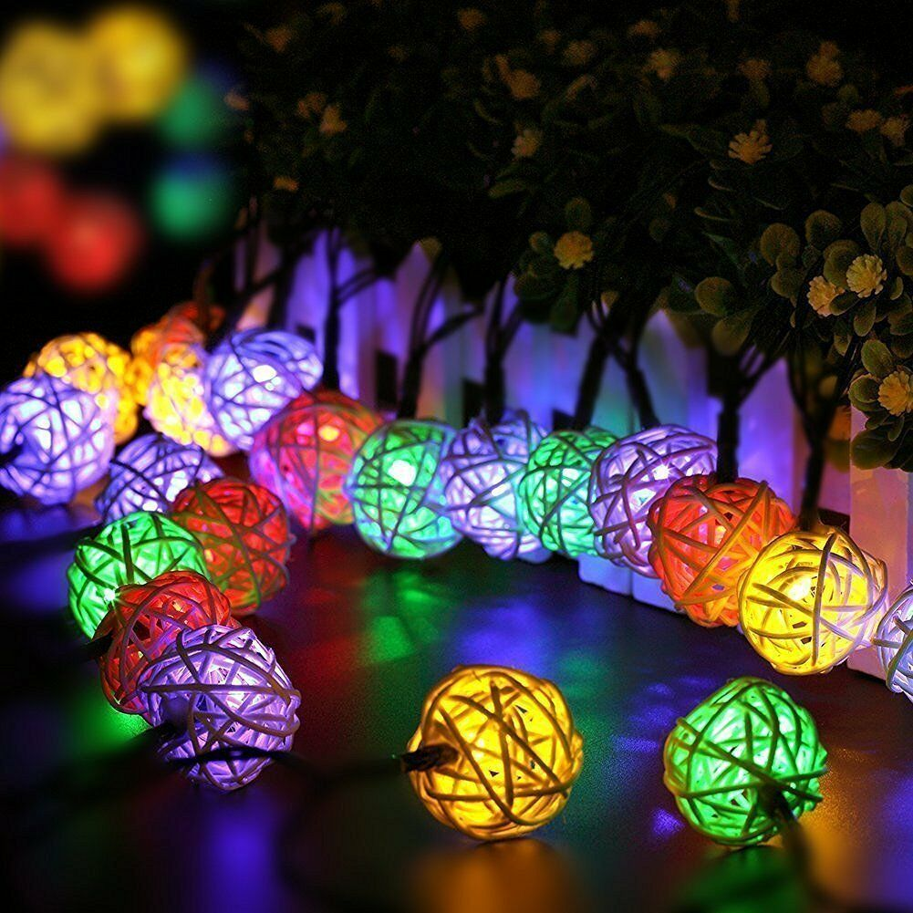 30led solar lichterkette lichtvorhang party rattan kugel. Black Bedroom Furniture Sets. Home Design Ideas