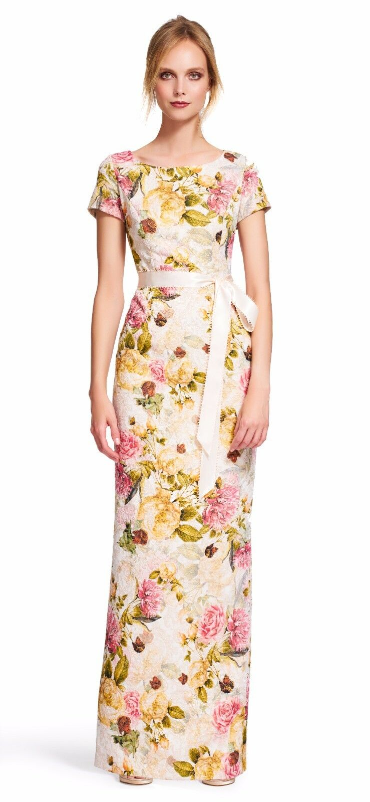 ADRIANNA PAPELL ENGLISH Rose short sleeve floral gown with tie sash ...