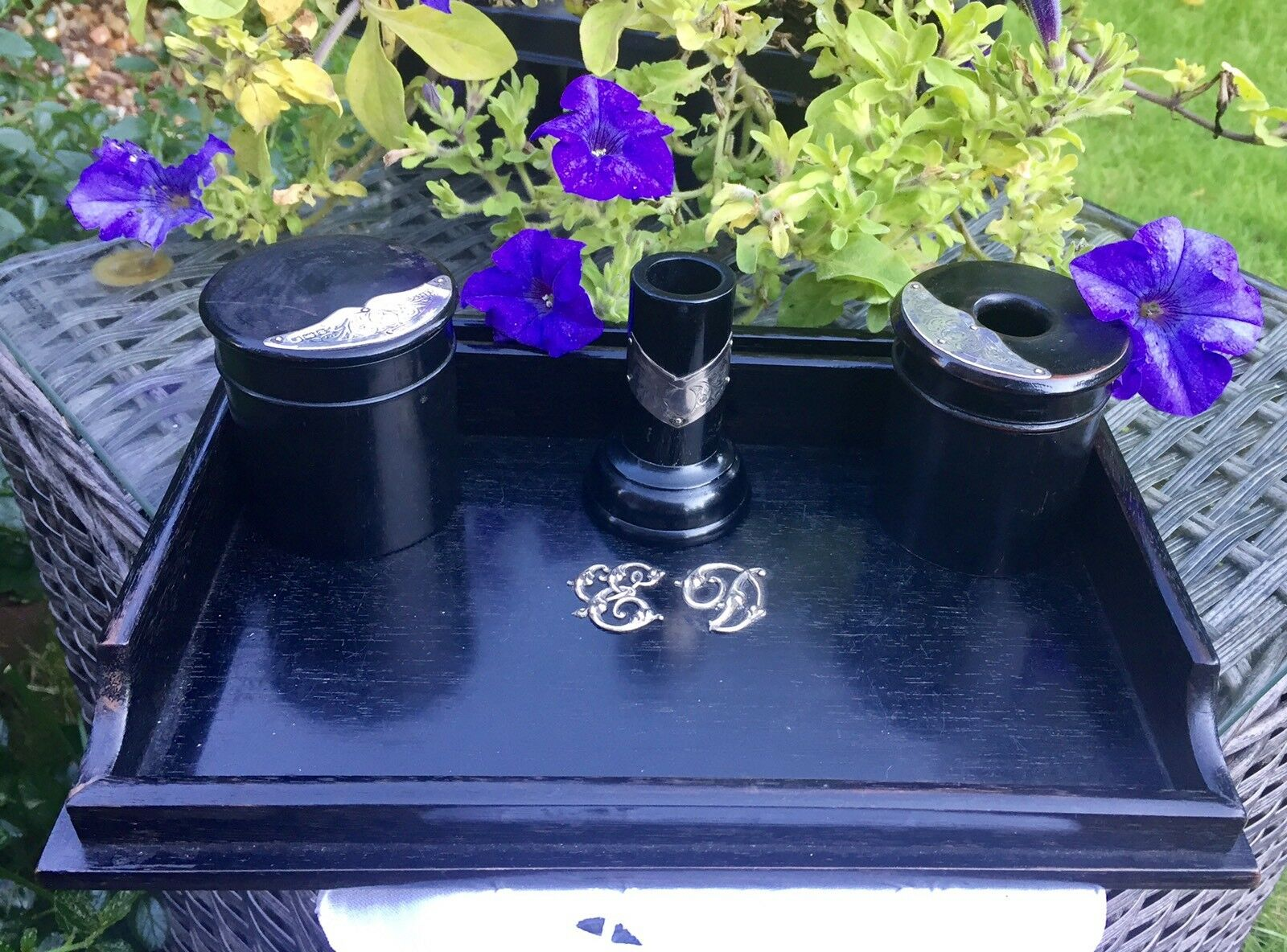 Antique Silver Decorated Ebony DRESSING TABLE or DESK SET. HM B'ham ~1921. JS&Co