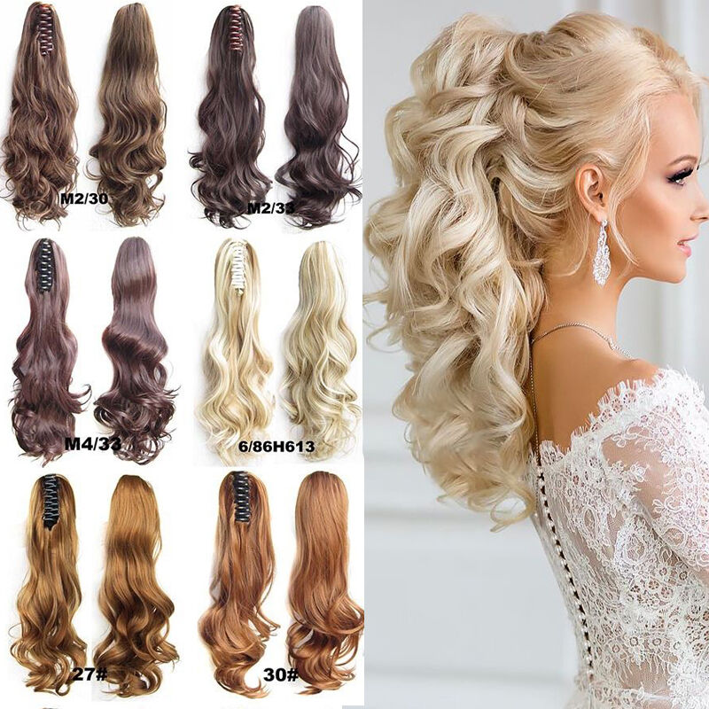 Thick Clip In Pony Tail Hair Extensions Claw Clip On Ponytail As