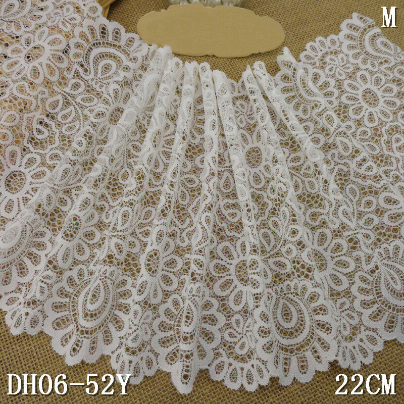 1 YARD WHITE Floral Scalloped Rereo Stretch Lace Trim For ...