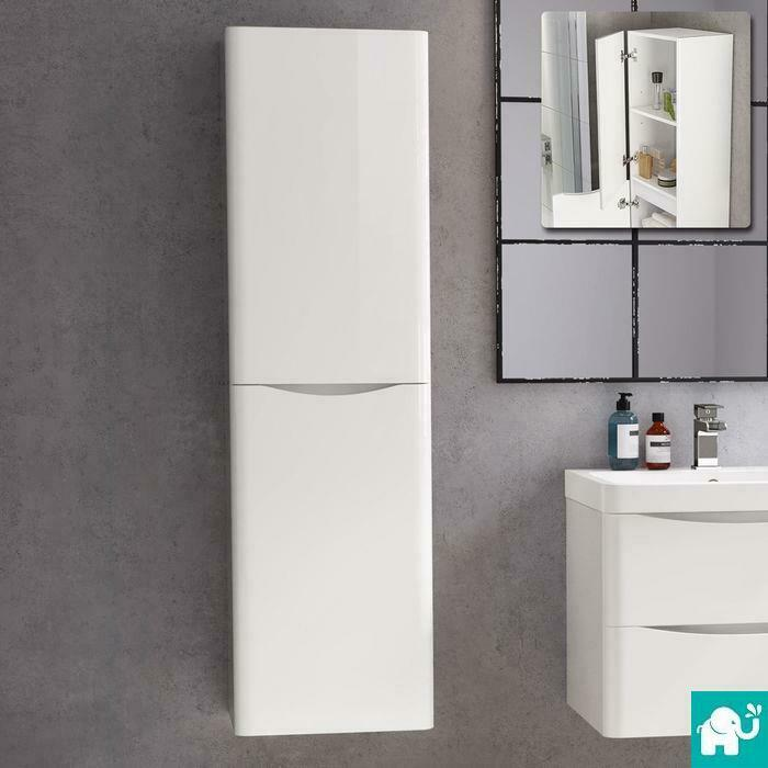 1400mm Tall Modern White Gloss Bathroom Furniture Cabinet Storage Unit Wall Hung 1 Of 6free Shipping