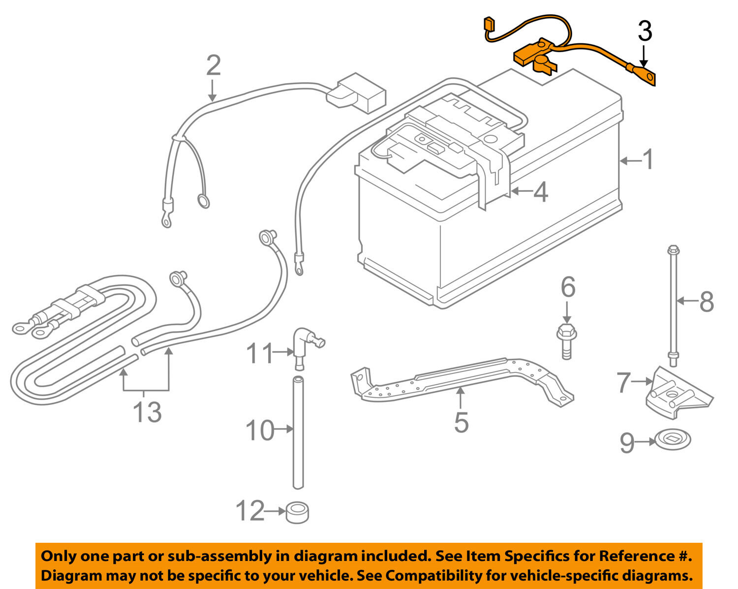 BMW OEM 07-13 328i Battery-Negative Cable 61127616200 1 of 2Only 1  available ...