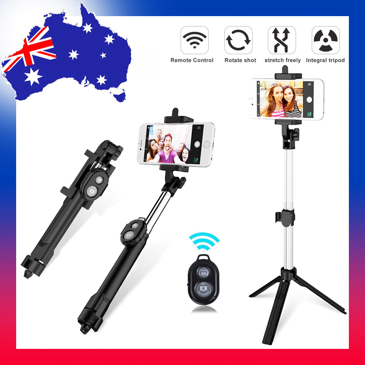 new wireless bluetooth selfie stick monopod for mobile phones samsung iphone aud. Black Bedroom Furniture Sets. Home Design Ideas