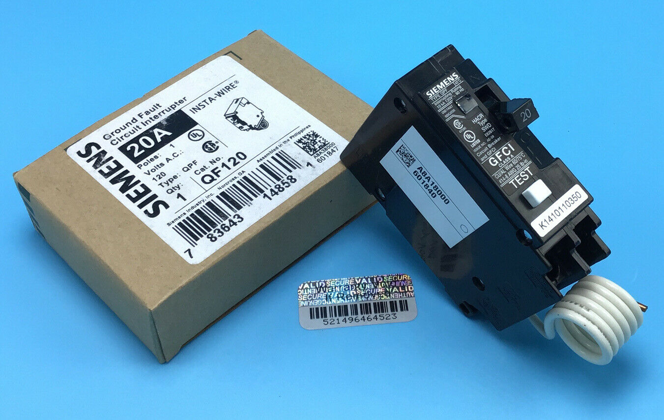 New Circuit Breaker Siemens Qf120a 20 Amp 1 Pole Self Test Gfci Type How To A Of 3free Shipping