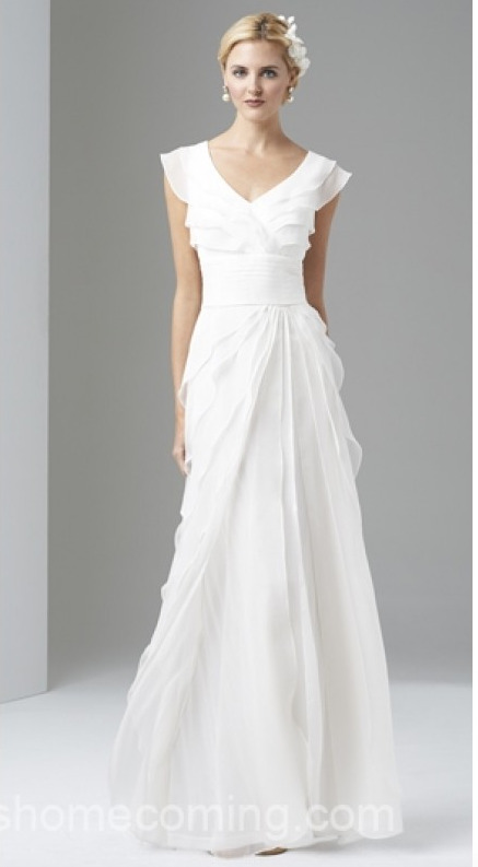 ADRIANNA PAPELL CAP Sleeve Tiered Silk Chiffon Gown Ivory White ...