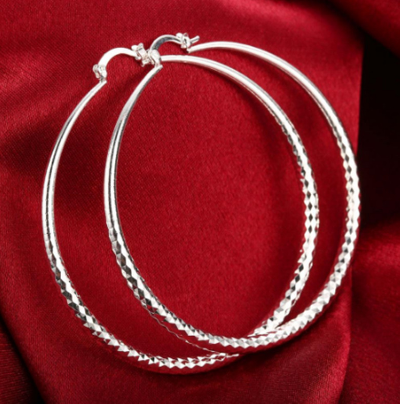 Womens 925 Sterling Silver Extra Large 70mm Diamond Cut Round Hoop Earrings E109