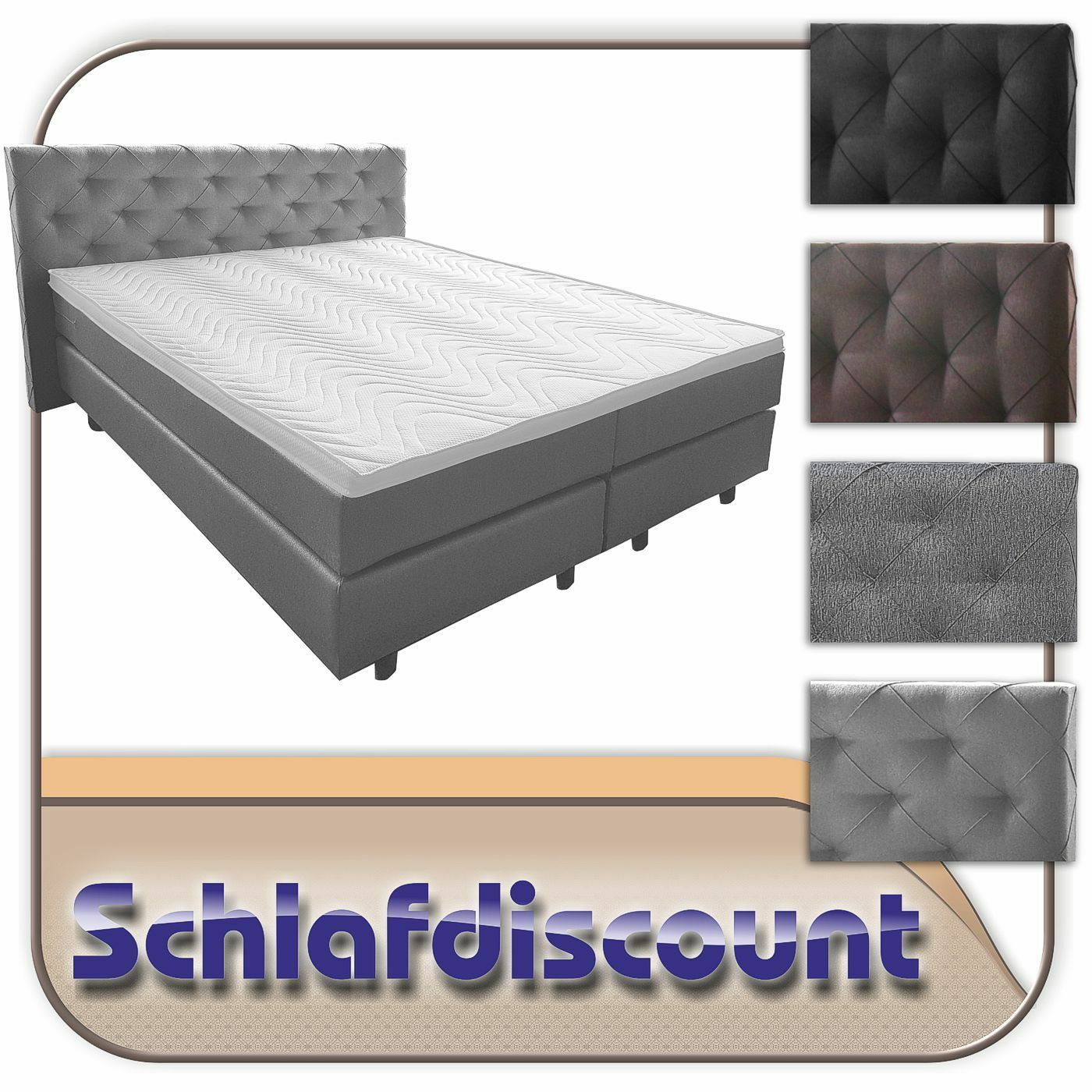 boxspringbett 7 zonen taschenfederkern stockholm 180x200cm. Black Bedroom Furniture Sets. Home Design Ideas