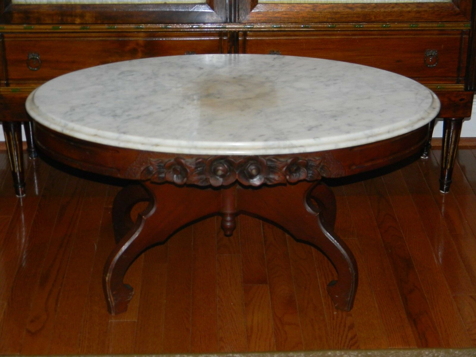 Vtg Antique Victorian Style Coffee Table With Italy Made Marble Top 1 Of 7  See More