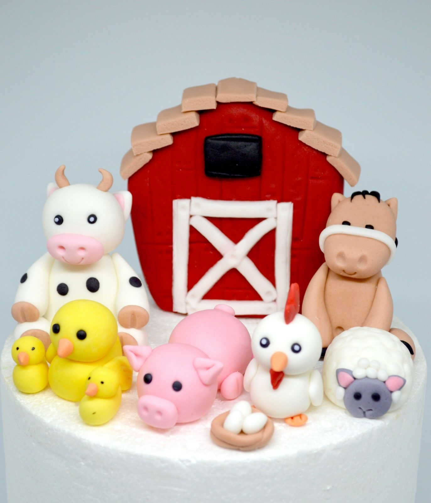 Farm Animals Fondant Edible Cake Toppers Birthday Party Decorations