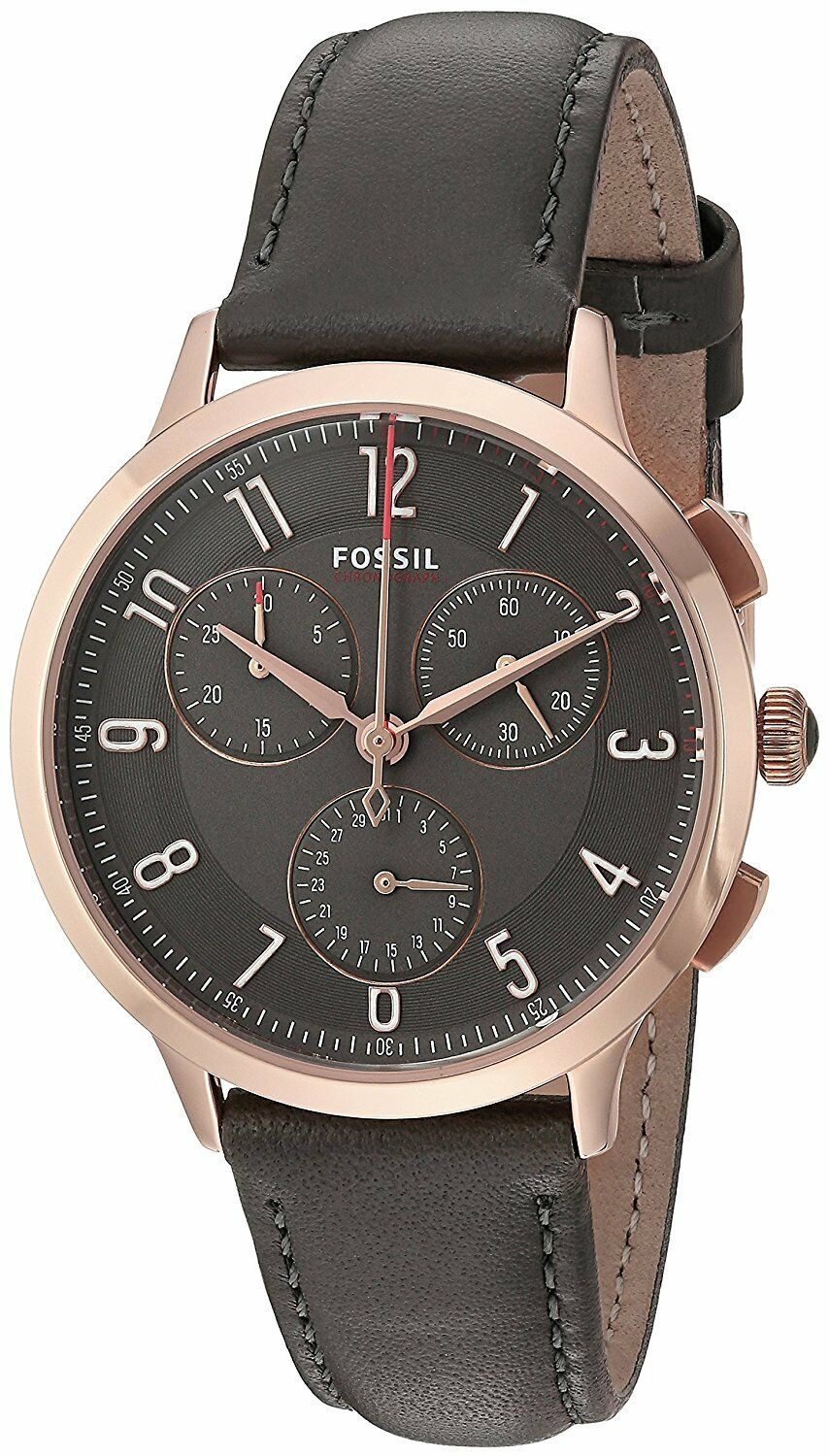 Fossil Ch3099 Womens Abilene Sport Rose Gold Steel Gray Leather Es3862 Original 1 Of 3only 0 Available