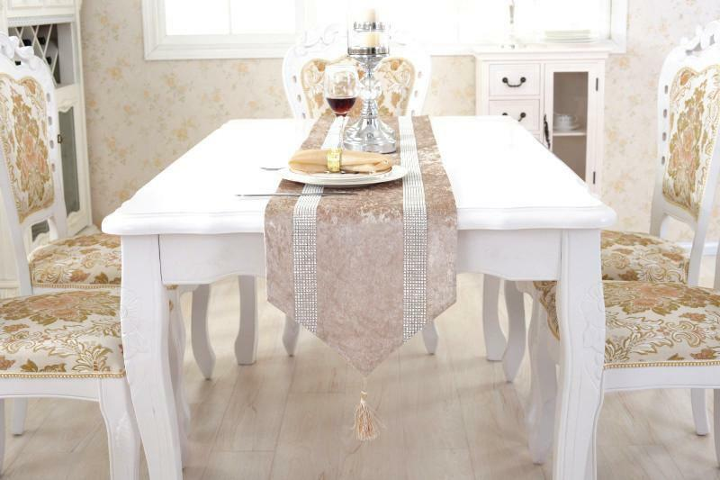 Flocked Damask Chenille Rhinestone Table Runner Placemat Set Wedding Home  Decor 1 Of 2FREE Shipping ...