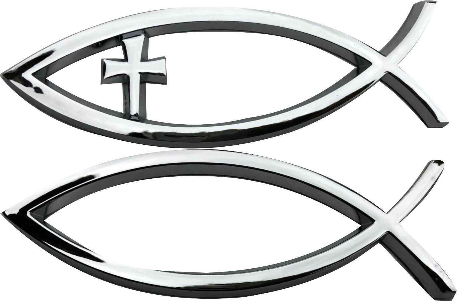 3d Car Chrome Decal Sticker Cross God Fish Jesus Christian Faith