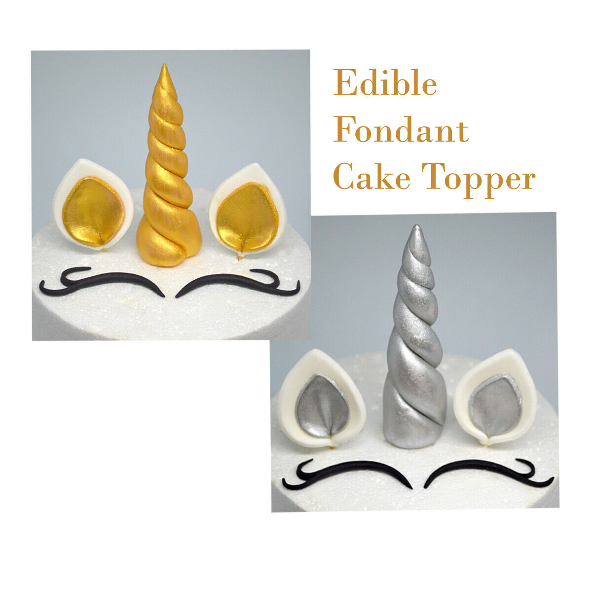 Unicorn Fondant Edible Cake Toppers Horn Ears And Eyes Birthday Gold