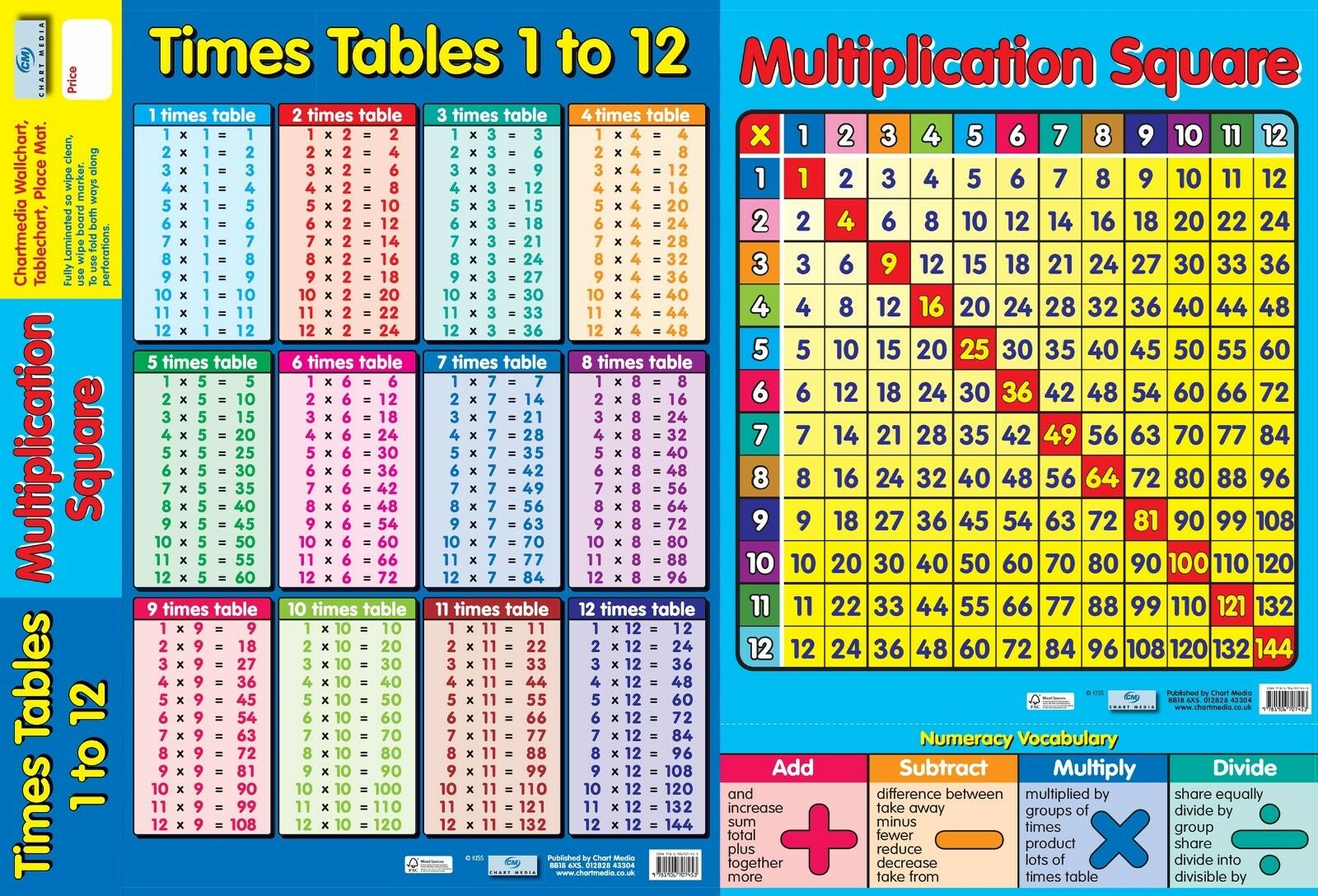 A2 2 in 1 multiplication times tables poster for 85 times table