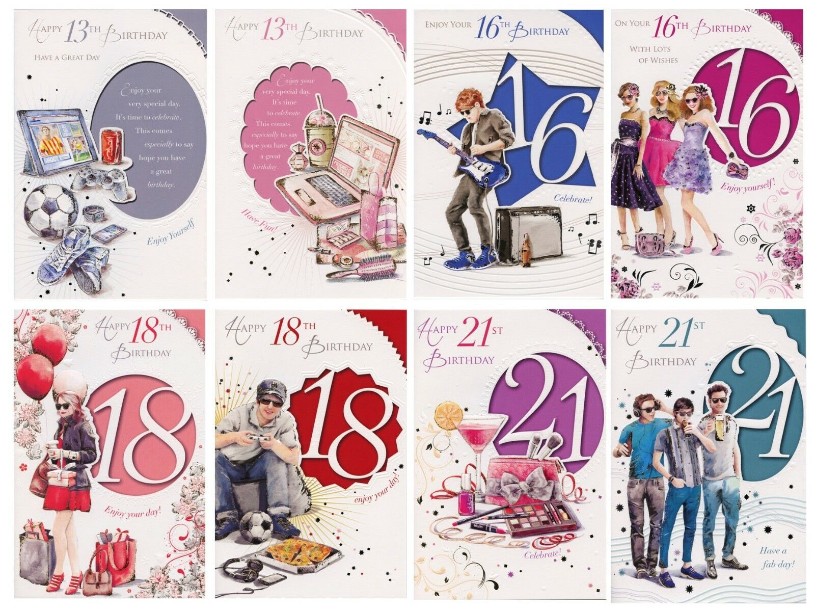 Male Female Boy Girl 13th 16th 18th 21st Birthday Cards 1stpp With