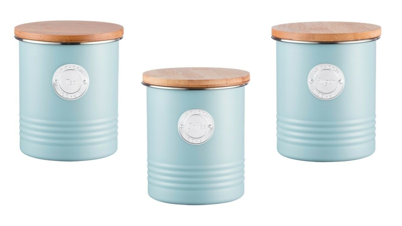 TYPHOON LIVING COLLECTION Tea/Coffee/Sugar Canister Set - Blue ...