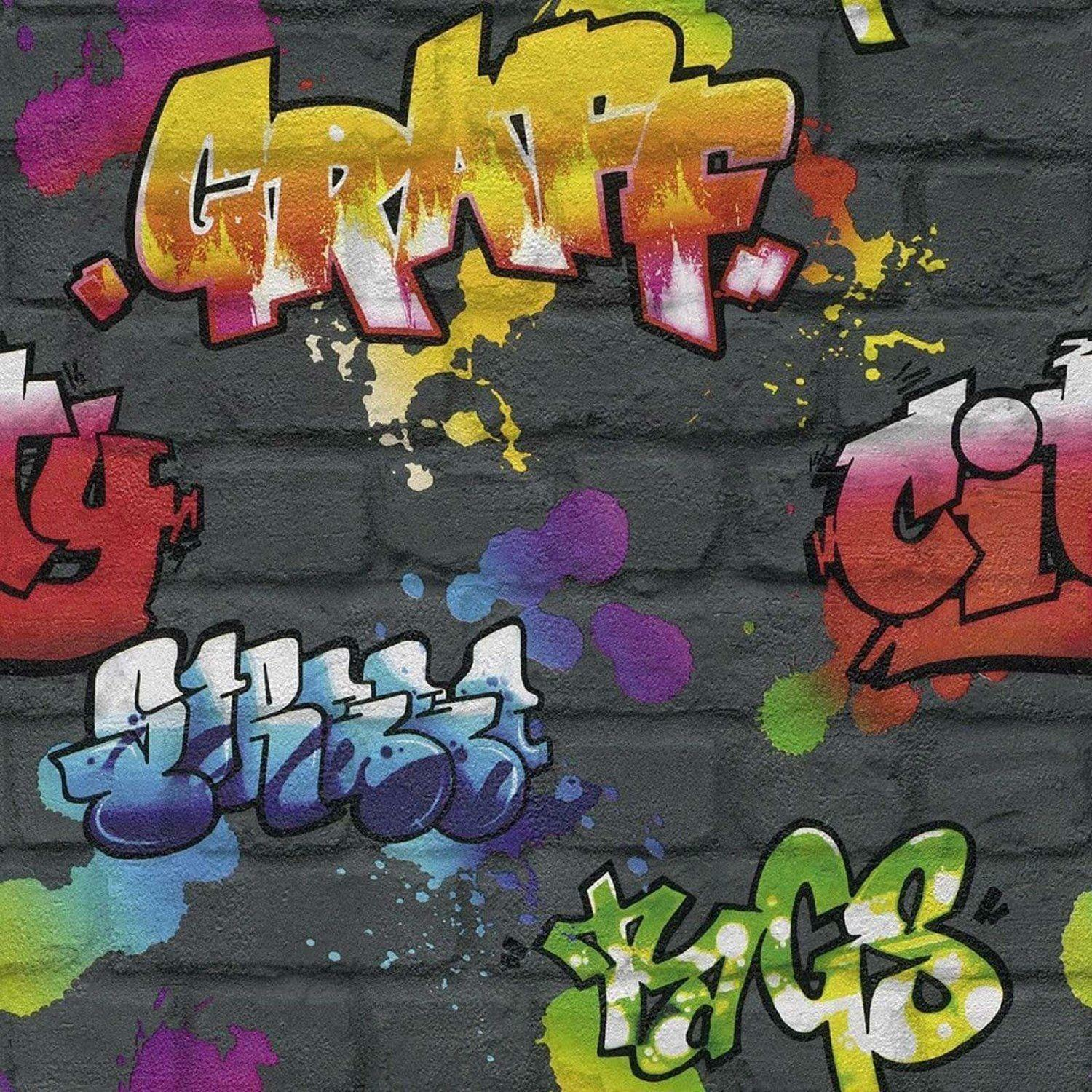 Black graffiti brick wall effect feature teenage kids wallpaper 237801 rasch new 1 of 3only 1 available