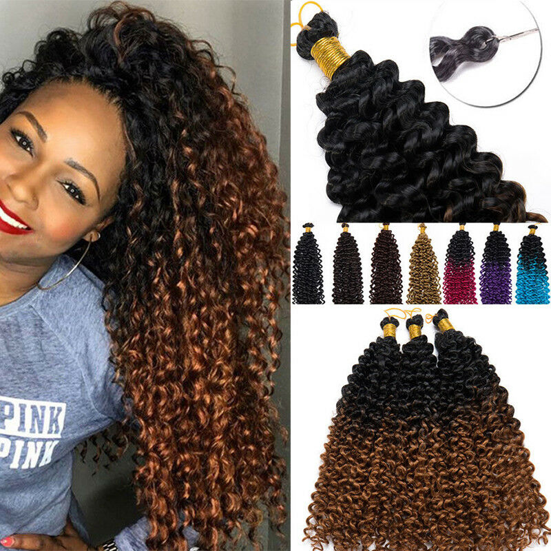 100 Real Natural Water Wave Crochet Braids Deep Curly 10 Human