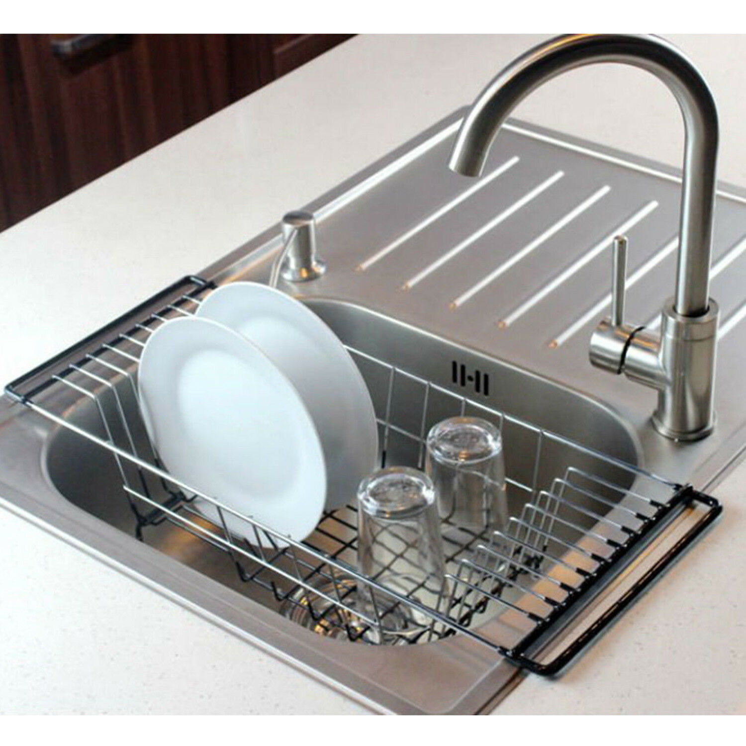Superbe Over The Sink Dish Drying Rack Rustproof Stainless Steel Kitchen Dish  Drainer 1 Of 6FREE Shipping See More