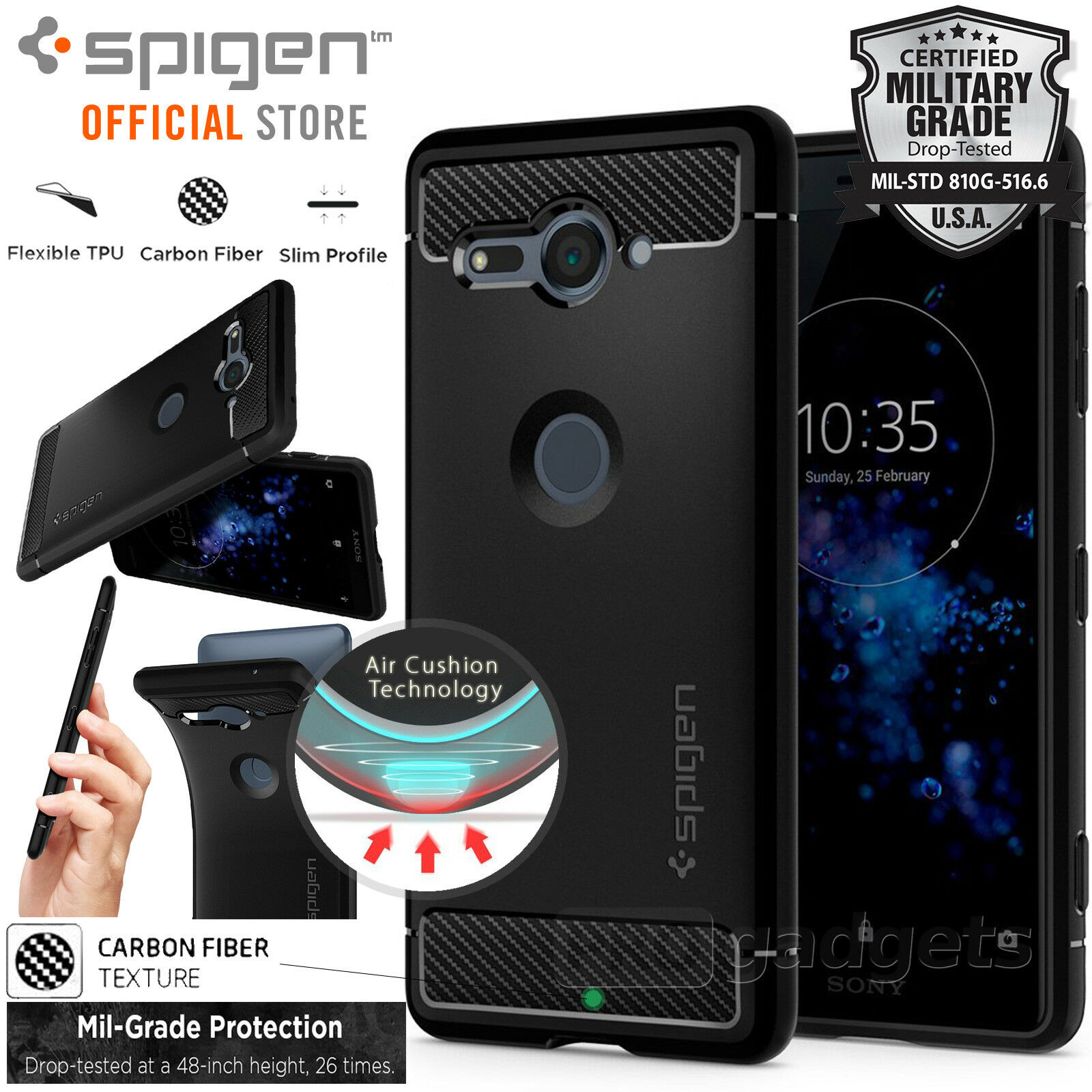 Xperia Xz2 Compact Case Genuine Spigen Rugged Armor Ultra Soft For Galaxy S8 Black Cover Sony 1 Of 10free Shipping See More