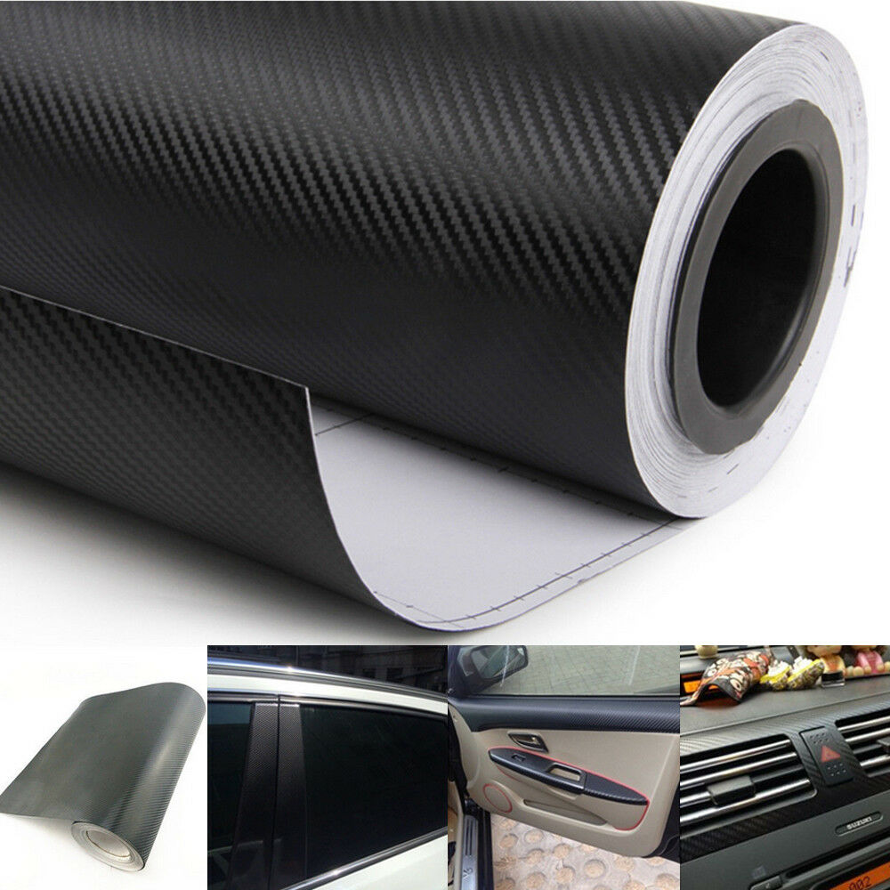 Car Interior Twill Weave Black Carbon Fiber Vinyl Wrap Film Sheet Decal Sticker
