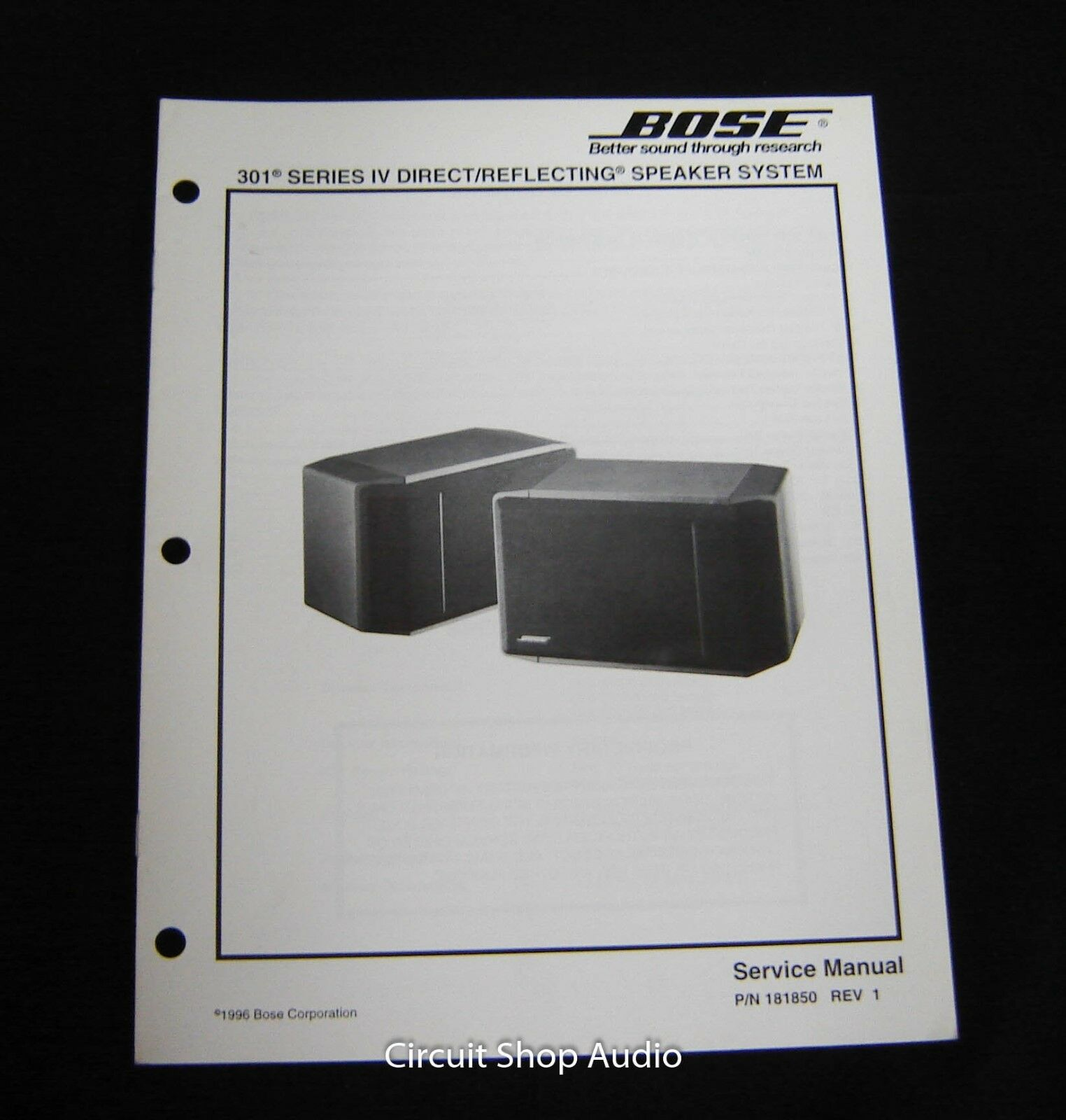 Original Bose 301 Series Iv Direct Reflecting Speaker System Service Rh Picclick Com IV Bookshelf Speakers