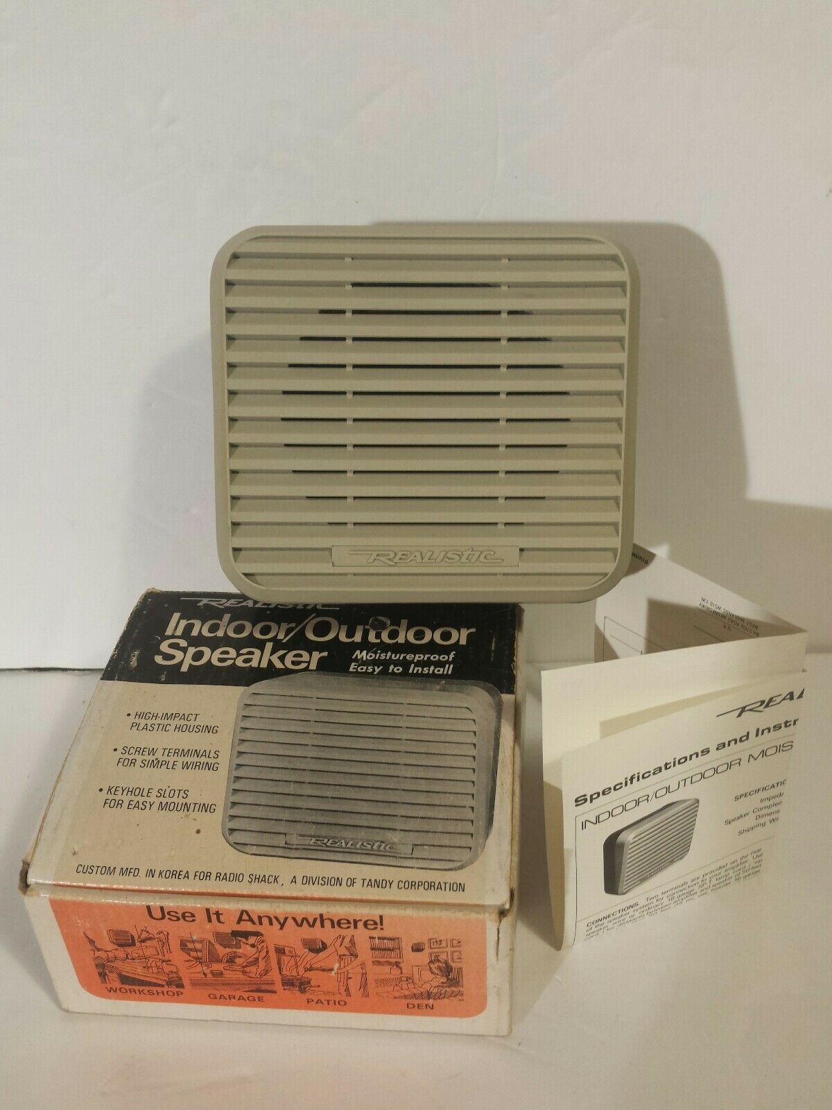 Realistic Indoor Outdoor Speaker 40 1227 Vintage Radio Shack New Wiring 1 Of 9free Shipping
