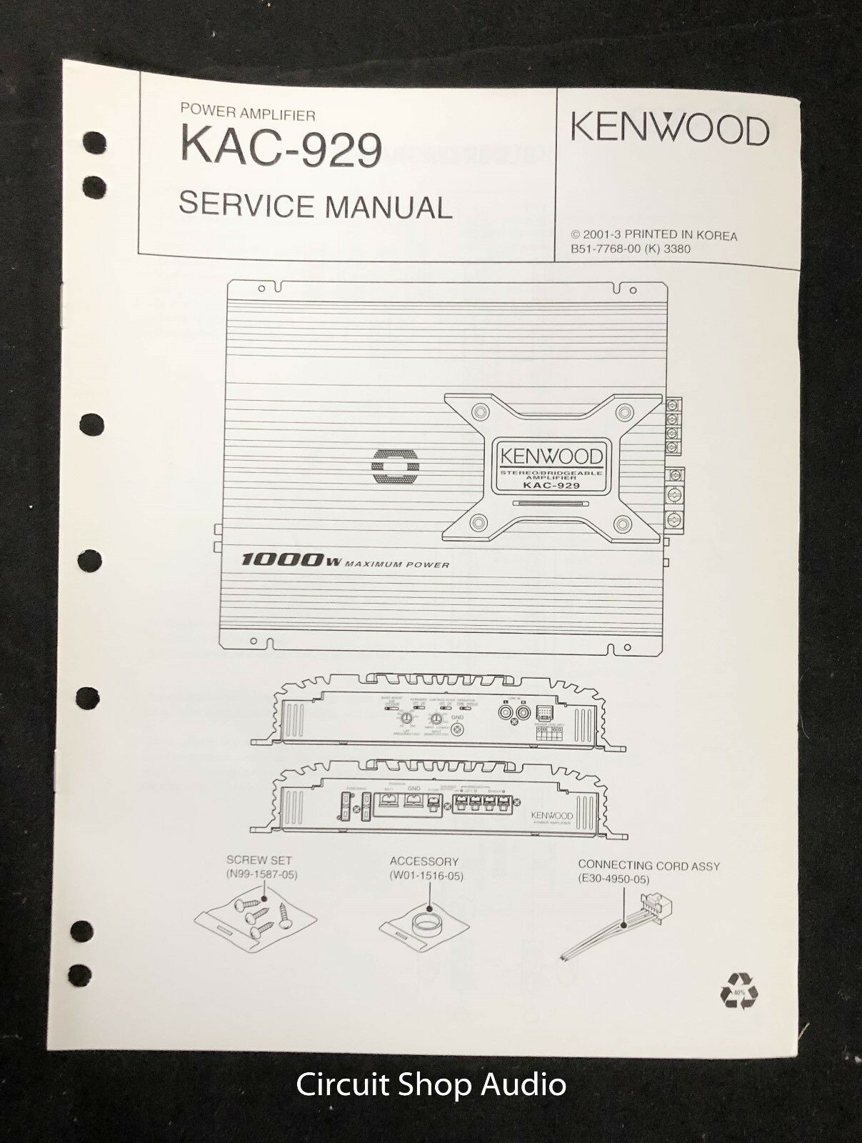 Original Kenwood KAC-929 Power Amplifier Service Manual 1 of 1Only 1  available ...