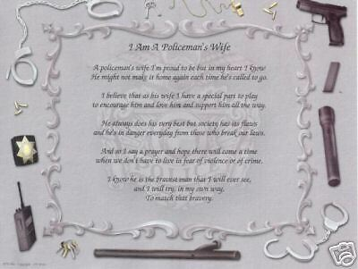 POLICE OFFICER WIFE Poem Personalized Print Prayer